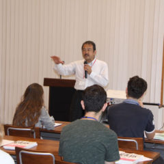 Welcome speech by Prof. Watanabe, Director of International Student Center as well as Vice President of Kyushu Univeristy